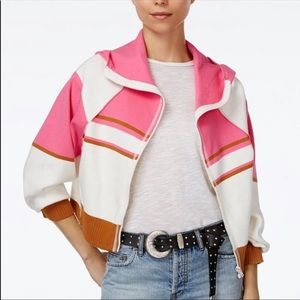 Free People Stripes For Days Hooded Crop Jacket S